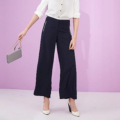 ICHE 衣哲 時尚簡約垂墜拉鍊闊腿直筒造型寬褲 -藍