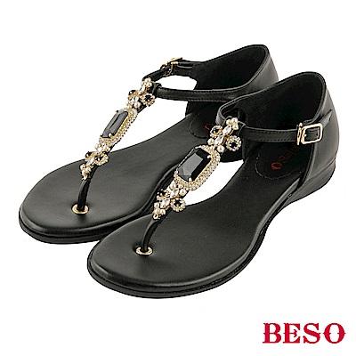 BESO 璀璨奢華 閃耀珍珠寶石T帶真皮涼鞋~黑