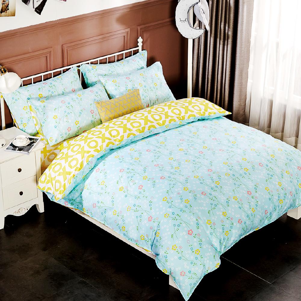 Grace Life 花漾-綠 雙人柔絲絨涼被床包四件組