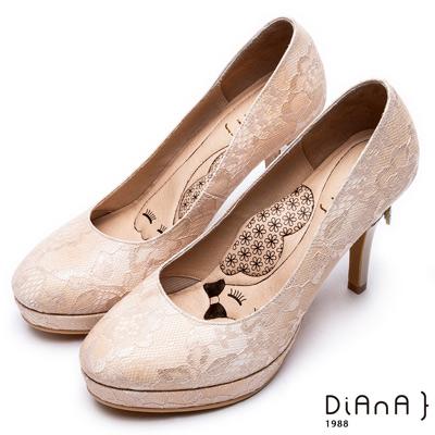 DIANA 超厚切LADY款--波爾多法式蕾絲布晚宴跟鞋-裸