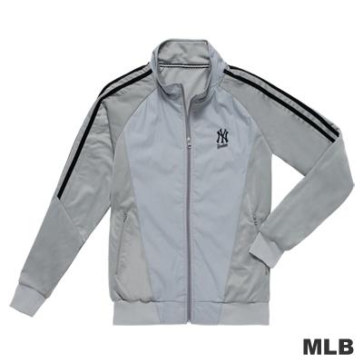 MLB-紐約洋基隊LOGO電繡拼接造型立領休閒外套-灰色(男)