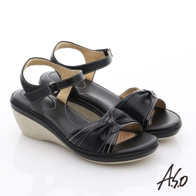 A.S.O 雙料紓壓 全真皮楔型氣墊鞋 黑