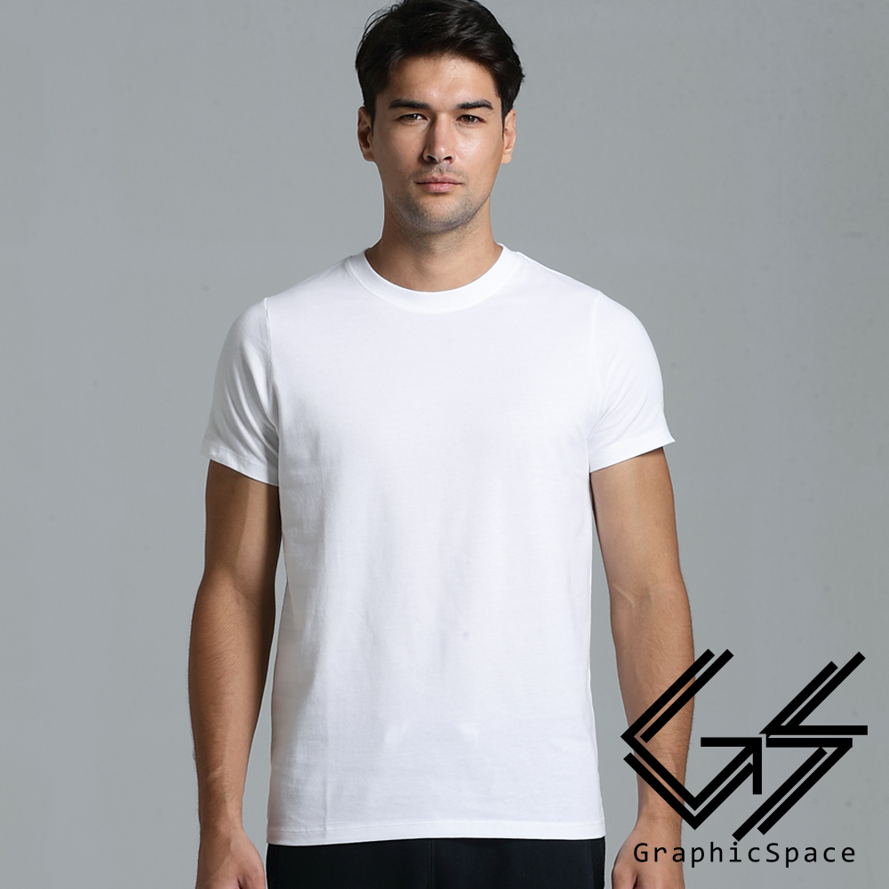 白色素面磨毛水洗T恤 (白色)-GraphicSpace