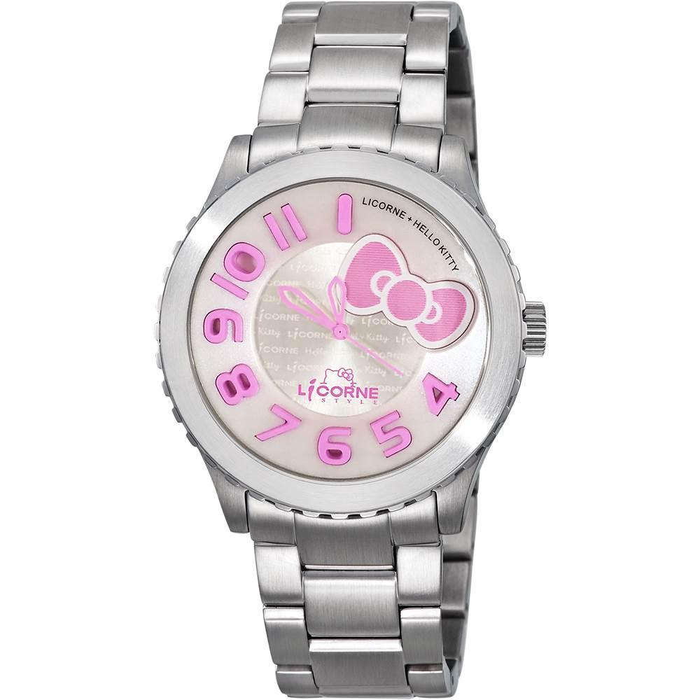 LICORNE+ HELLO KITTY 聯名系列 氣質淑女時尚腕錶-銀x粉紅/42mm