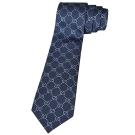 Gucci 經典 LOGO菱格交叉香檳藍點點領帶(深藍)