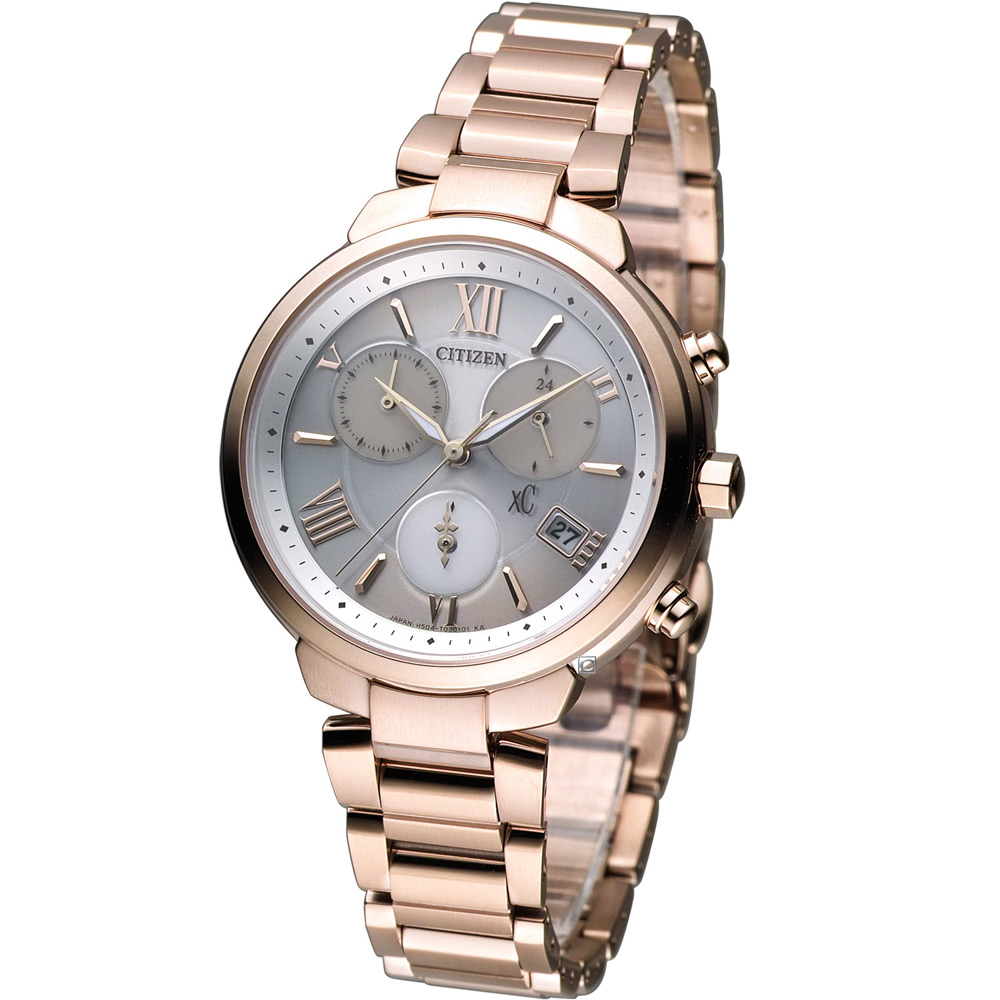 CITIZEN xC 【鈦】輕盈時尚 光動能腕錶(FB1332-50A)-玫瑰金色/35mm @ Y!購物