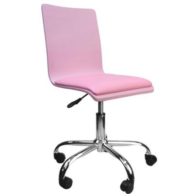 邏爵家具 香彩粉紅曲木皮墊事務椅/電腦椅