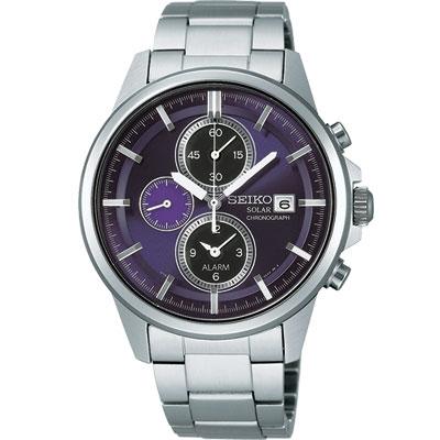 SEIKO SPIRIT 太陽能鬧鈴兩地時間腕錶-深紫/40mm