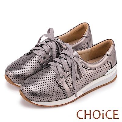 CHOiCE 中性休閒 牛皮綁帶洞洞平底休閒鞋-灰色