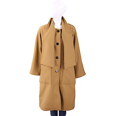 TORY BURCH CHELSEA 圍巾領駝棕色切爾西羊毛大衣