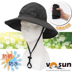 【VOSUN】熱賣款 經典時尚防水透氣高防曬大盤帽_軍黑