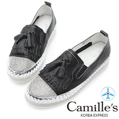 Camille's 韓國空運-正韓製-鑽石厚底懶人鞋-流蘇款-黑色