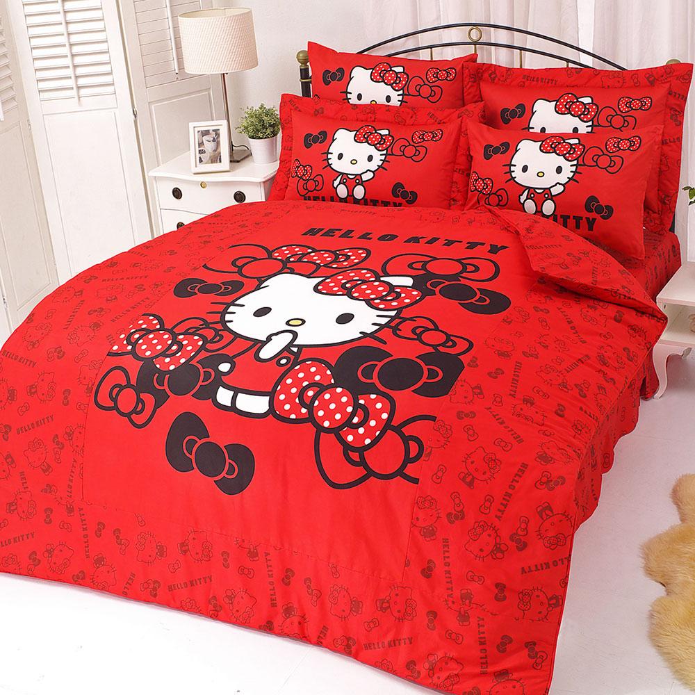 HELLO KITTY 我的小可愛系列-雙人純棉四件式床包涼被組(紅)