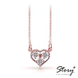 STORY故事銀飾-明亮的心-純銀項鍊(玫瑰金+白鑽)