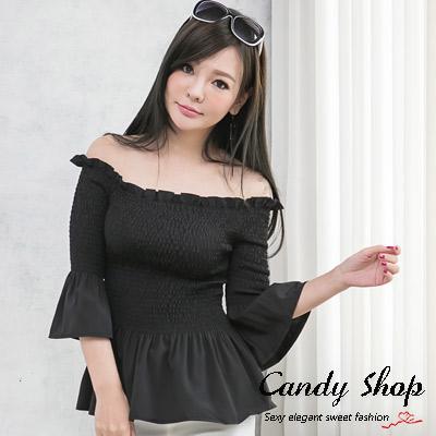 Candy小舖-新品特色款-素色簡約荷葉邊縮腰一字領上衣-黑色