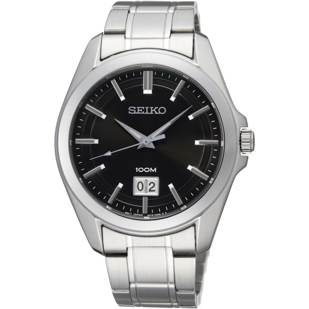 SEIKO精工 大日期視窗百米腕錶(SUR009P1)-黑x銀/40mm