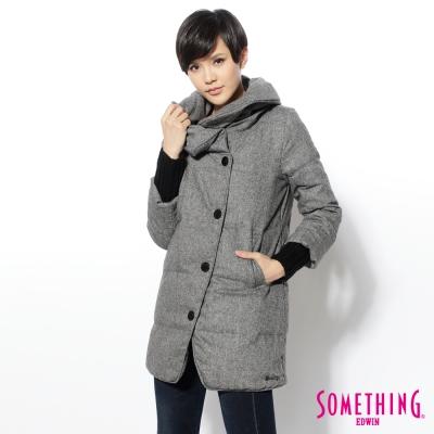 SOMETHING 外套 時尚毛呢造型領羽絨外套-女-灰黑