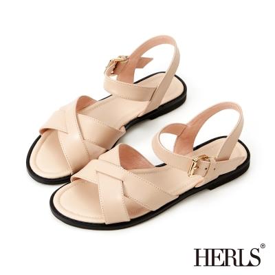 HERLS-自然色調 真皮交叉條帶涼鞋-粉色