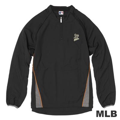 MLB-奧克蘭運動家隊可拆袖防風長袖T恤-黑(男)