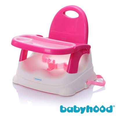 babyhood 咕咕兒童折疊餐椅 玫紅款  附透明餐盤面紙盒