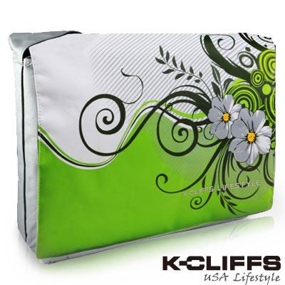 【美國K-CLIFFS】花漾系列側背電腦包(15吋)-綠