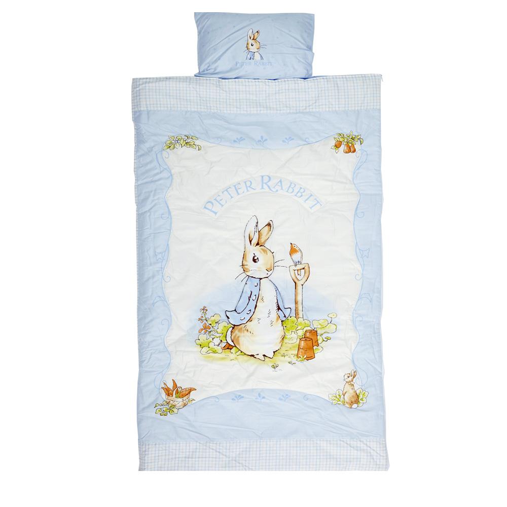 粉彩比得兔幼教兒童兩件式睡袋-粉藍