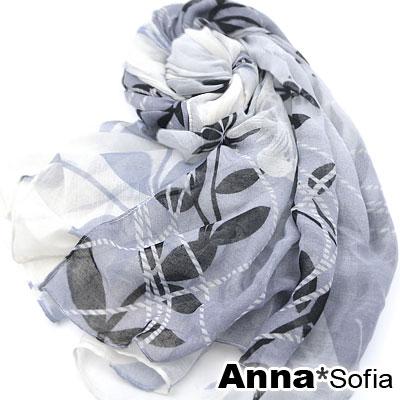 AnnaSofia-風飄落葉-巴黎紗披肩圍巾-灰藍系