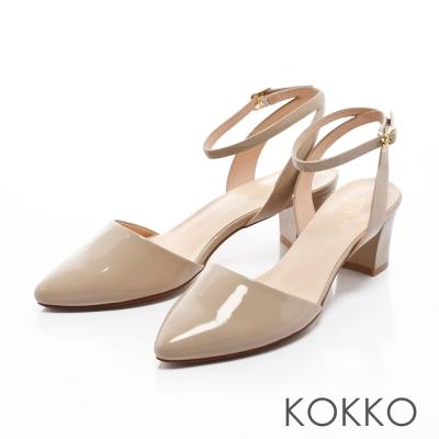 KOKKO-尖頭素面後空真皮繫踝粗跟鞋 - 杏色