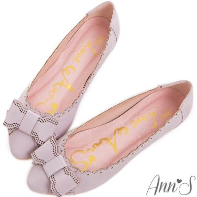 Ann-S氣質專屬-復古赫本蝴蝶結內增高包鞋-紫