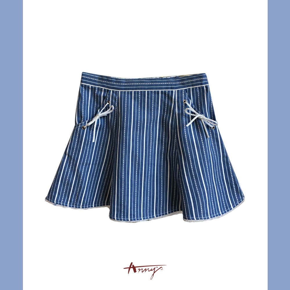 Annys海洋風條紋麻繩設計口袋短裙*7318藍
