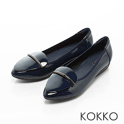 KOKKO - 城市綺想輕奢尖頭平底休閒鞋-午夜藍