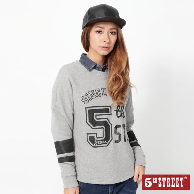 5th STREET 運動風潮落肩T恤-女-灰色