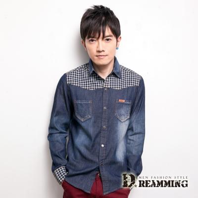 Dreamming 剪接格子壓釦長袖牛仔襯衫-共三色