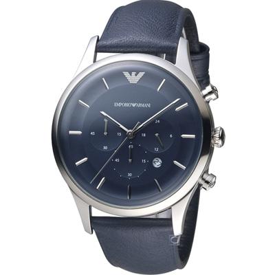 Emporio Armani 計時時尚腕錶(AR11018)-藍/43mm