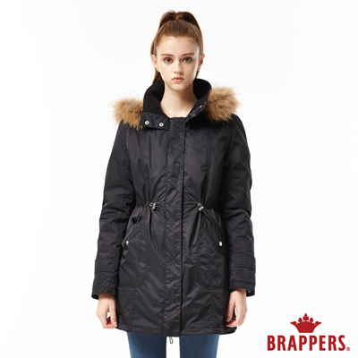 BRAPPERS 女款 兩件式風衣羽絨外套-黑