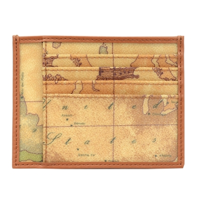 Alviero Martini 義大利地圖包 卡片式卡夾8+2卡-地圖黃