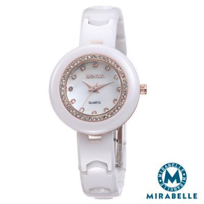 Mirabelle 星砂漫遊 純白碎鑽精品陶瓷錶 金33mm
