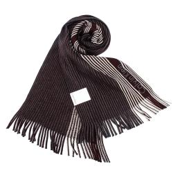 Calvin Klein CK 直條紋刺繡LOGO雙色針織圍巾-深紅/白