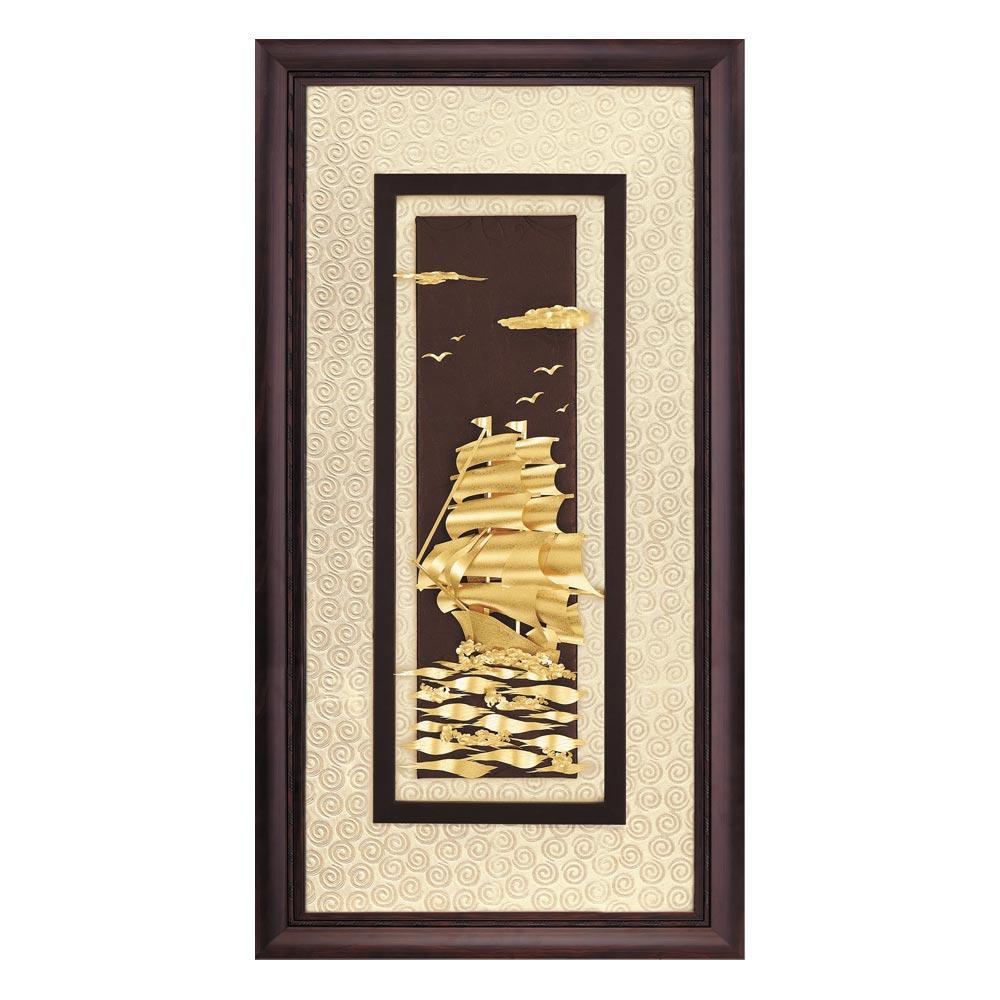 鹿港窯-立體金箔畫-一帆風順(高昇系列42x81cm)