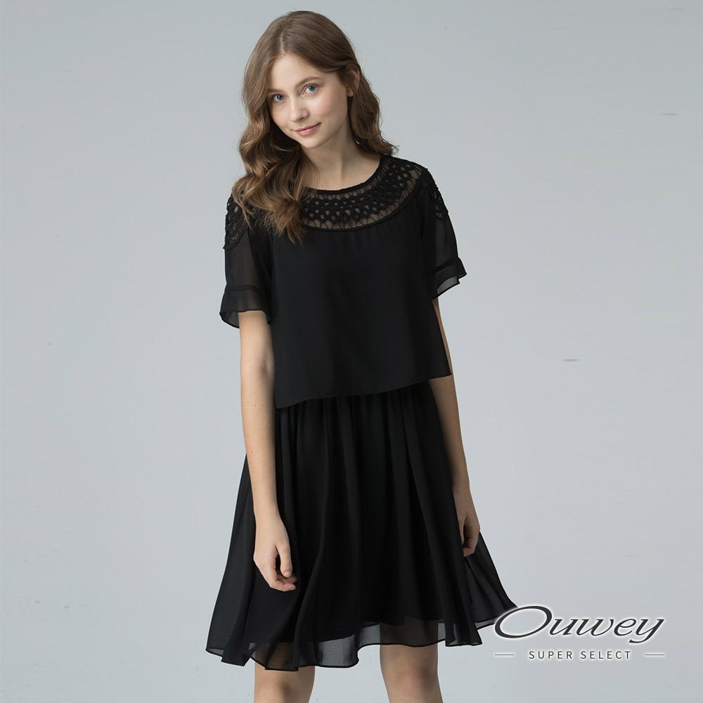 OUWEY歐薇 縷空蕾絲假兩件洋裝(黑)