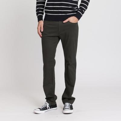 Hang Ten - 男裝 - 基本純色高彈長褲 - 橄欖