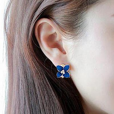 Hera 赫拉 寶藍立體磨砂山茶花水晶鑲鑽無耳洞耳夾