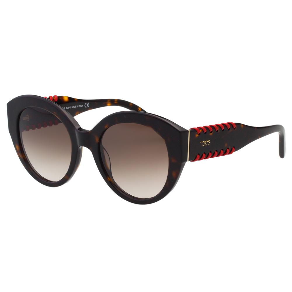 TOD'S 廣告款 復古造型 編織 太陽眼鏡-琥珀色