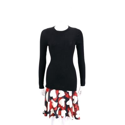 BOUTIQUE MOSCHINO 黑色針織拼接愛心印花長袖洋裝(100%WOOL)