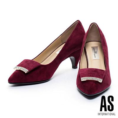 高跟鞋-AS-細緻晶鑽麂皮方釦羊麂皮尖頭高跟鞋-紅