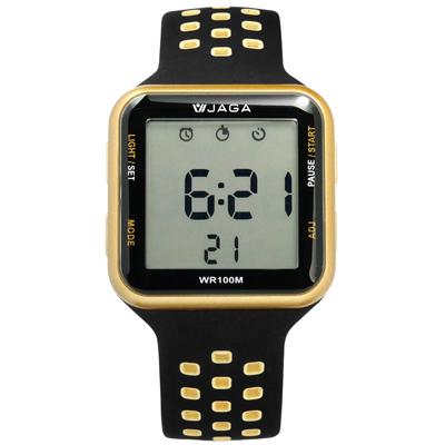 JAGA 捷卡 方型電子計時碼錶鬧鈴防水透氣運動矽膠手錶-黑金色/38mm