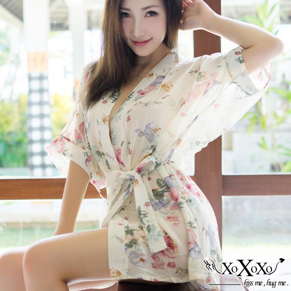 罩衫 春日花語雪紡印花罩衫 花語白 XOXOXO