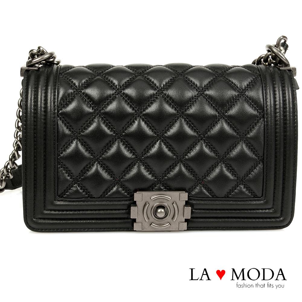 La Moda 名流經典設計系列     全真牛皮立體菱格紋款(黑)