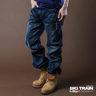 BIG TRAIN-銀線繡花貼袋垮褲-深藍