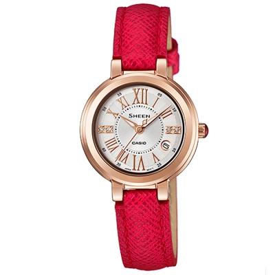 SHEEN 優雅自信之美羅馬時刻腕錶(SHE-4029PGL-7A)/紅X金框26.5mm